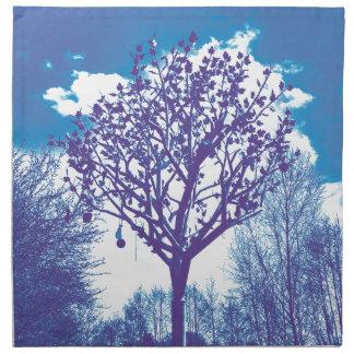 metal tree dull blue napkins