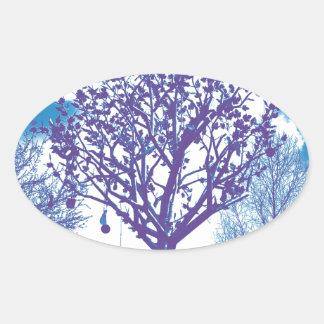 metal tree dull blue oval sticker
