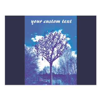 metal tree dull blue postcard