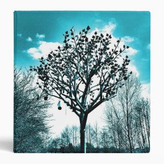 metal tree on the field digital photo blue tint 3 ring binder