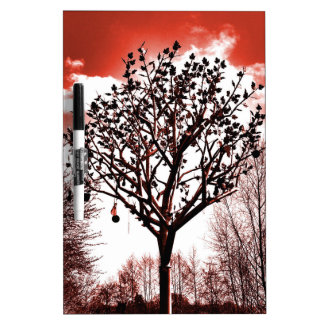 metal tree on the field digital photo red tint dry erase board