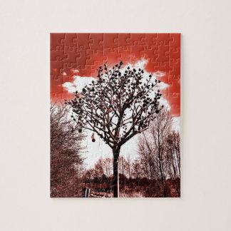 metal tree on the field digital photo red tint jigsaw puzzle