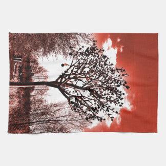 metal tree on the field digital photo red tint kitchen towel
