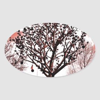 metal tree on the field digital photo red tint oval sticker