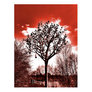 metal tree on the field digital photo red tint postcard