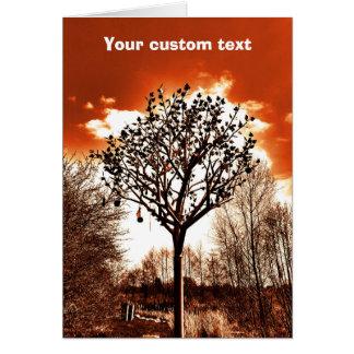 metal tree on the field orange tint card