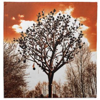 metal tree on the field orange tint printed napkins