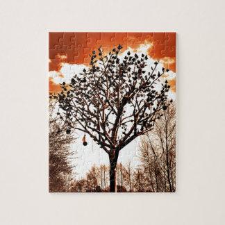 metal tree on the field orange tint puzzle