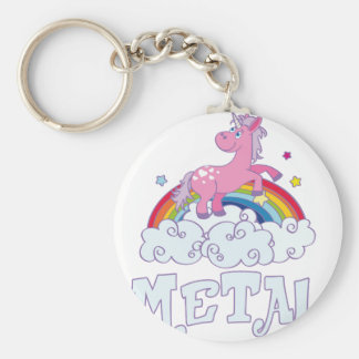 Metal Unicorn Basic Round Button Keychain