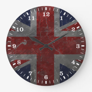 Metal Vintage Union Jack Flag Large Clock
