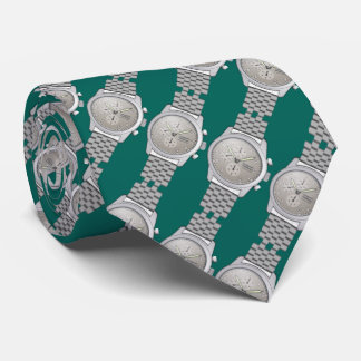 metal watches with teal green background tie