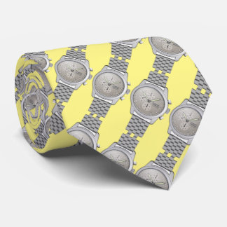 metal watches with yellow background tie