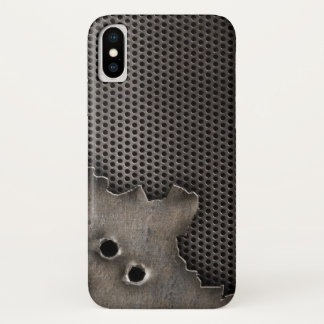 Metal with bullet holes background iPhone x case
