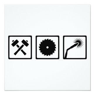 "Metal worker 5.25"" square invitation card"