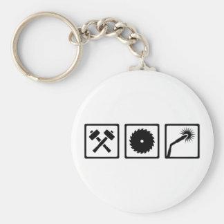 Metal worker basic round button keychain
