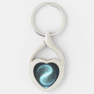 Metal Yin Yang Twisted Heart Keychain