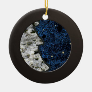 Metalic Black Circle and Coloured Granite Ceramic Ornament