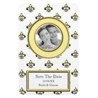 Metalic Fleur de lis (Gold) (Save The Date) Rectangular Photo Magnet