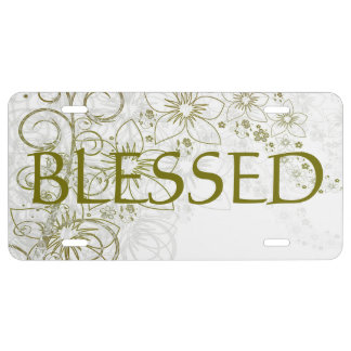 Metalic Gold Flower License Plate