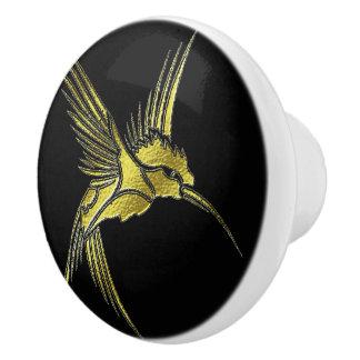 Metalic Gold Hummingbird Dresser Drawer Knob Pull