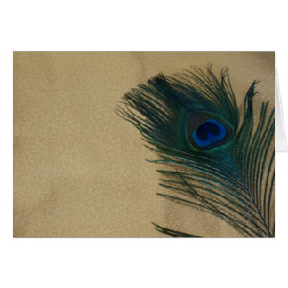 Metalic Gold Peacock Feather Greeting Card