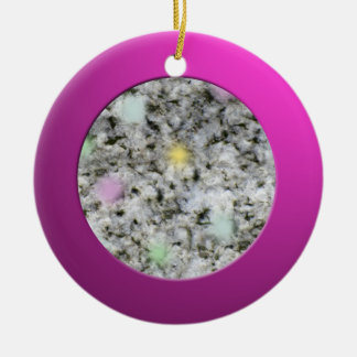 Metalic Pink Circle and Pastel Granite Rock Ceramic Ornament