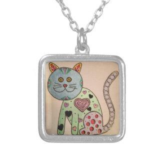 Metalic Tangle Cat Necklace
