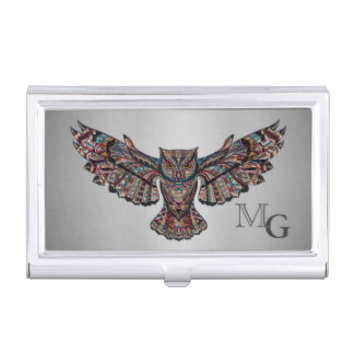 Metalized Owl Art Business Card Holder
