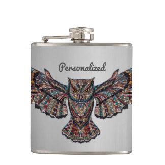 Metalized Owl Art Hip Flask