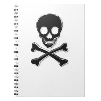Metall skul and bones notebook
