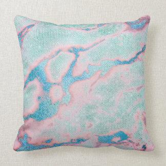 Metallic Abstract Beach Ocean Blue Coral Glitter Throw Pillow