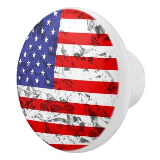 Metallic American Flag Design 2 Ceramic Knob