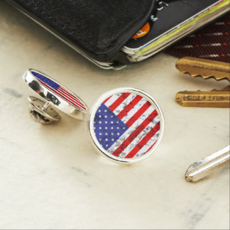Metallic American Flag Design 2 Lapel Pin