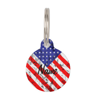 Metallic American Flag Design 2 Pet Name Tags