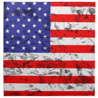 Metallic American Flag Design 2 Printed Napkin