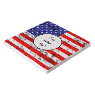 Metallic American Flag Design 2 Trivet