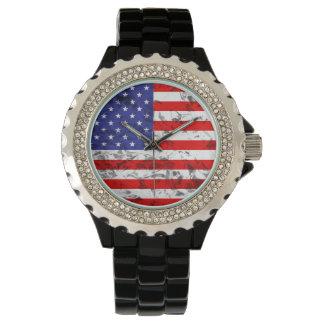 Metallic American Flag Design 2 Wrist Watches