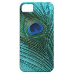 Metallic Aqua Blue Peacock Feather iPhone 5 Case