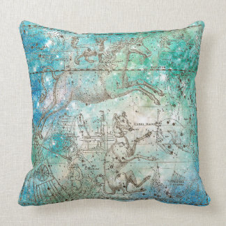 Metallic Aquatic Ocean Water Beach Sparkly Unicorn Throw Pillow