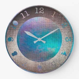 Metallic Aquatic Teal Purple Tropical Paint Large Clock