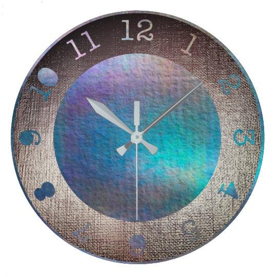 Metallic Aquatic Teal Purple Tropical Paint Large Clock