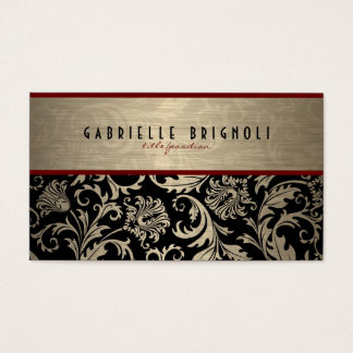 Metallic Beige And Black Damasks Design 2 Business Card