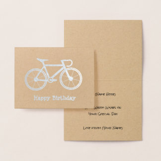 Metallic Bicycle - Silver or Gold Cycling Theme Foil Card