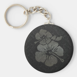 Metallic black and silver damask textured hibiscus keychain