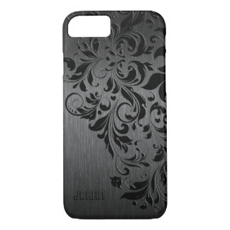 Metallic Black Brushed Aluminum & Black Lace iPhone 8/7 Case