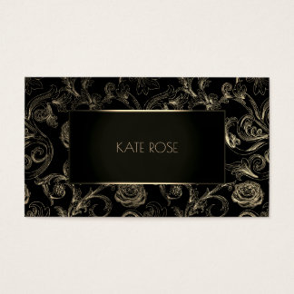 Metallic Black Champaign Gold Floral Frame Roses Business Card