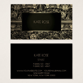 Metallic Black Champaign Gold Floral Frame Vip Business Card