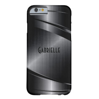 Metallic Black Design Brushed Aluminum Look Barely There iPhone 6 Case