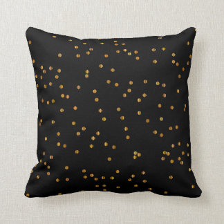Metallic Black & Gold Confetti Dots Throw Pillow