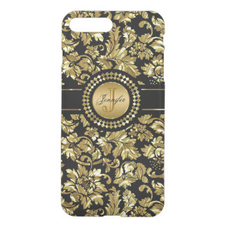 Metallic Black & Gold Vintage Damasks Monogram iPhone 7 Plus Case